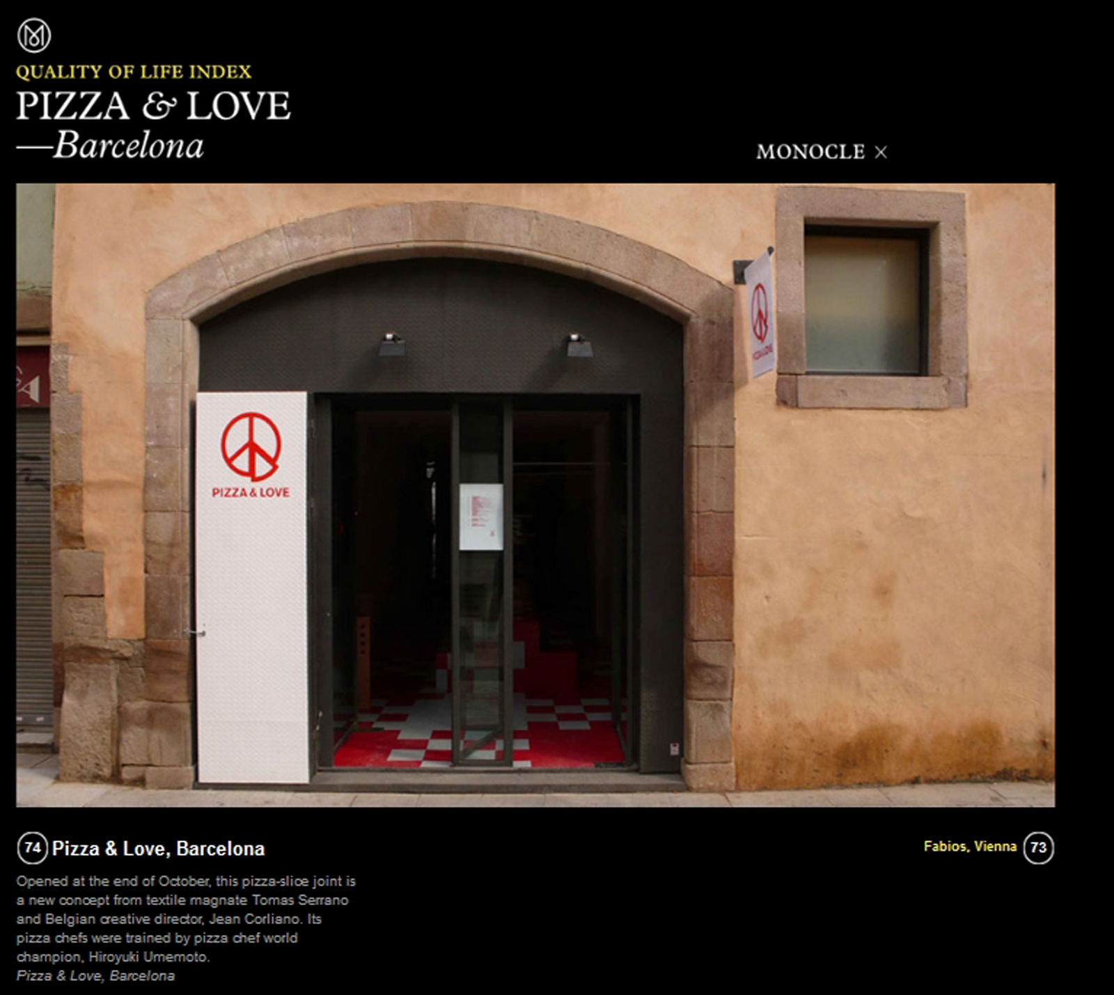 Monocle Pizza & Love, Barcelona
